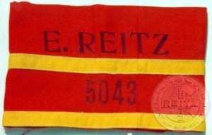"Armband of a ""band leader"" in the E.Reitz uniform factory.The bandleaders controlled the women working on that band."